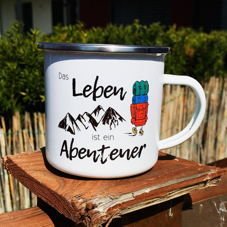 Camping Tasse mit Motiv DAS LEBEN IST EIN ABENTEUER