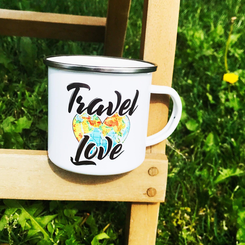 Camping Tasse mit Motiv TRAVEL LOVE