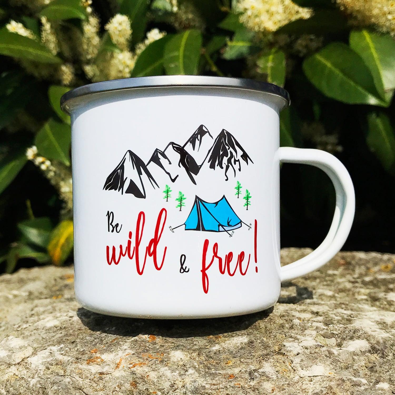 Camping Tasse mit Motiv WILD & FREE