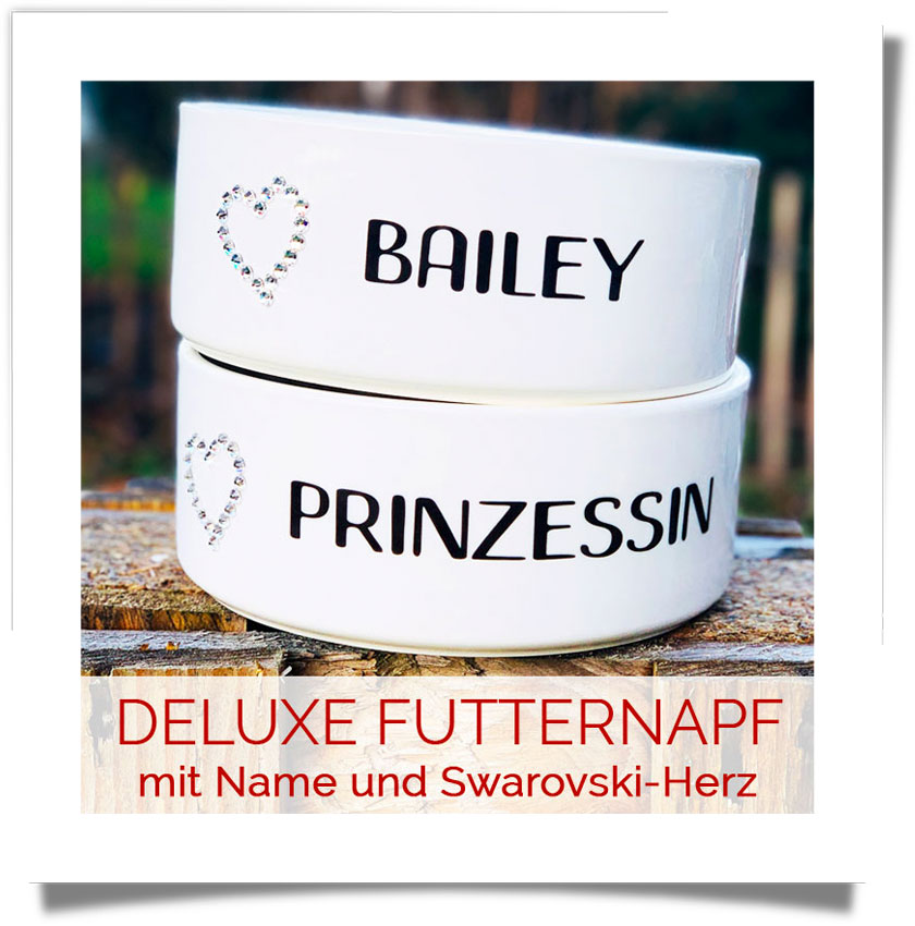 DELUXE Futternapf mit Name & Swarovski-Herz