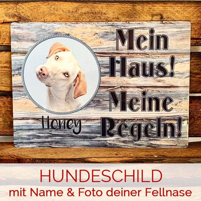 Hunde-Warnschild mit Name & Foto Deiner Fellnase