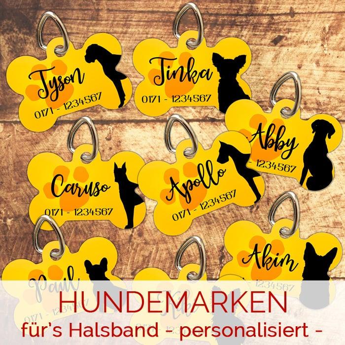 Hundemarken für's Halsband - personalisiert mit Name & TelefonNr.