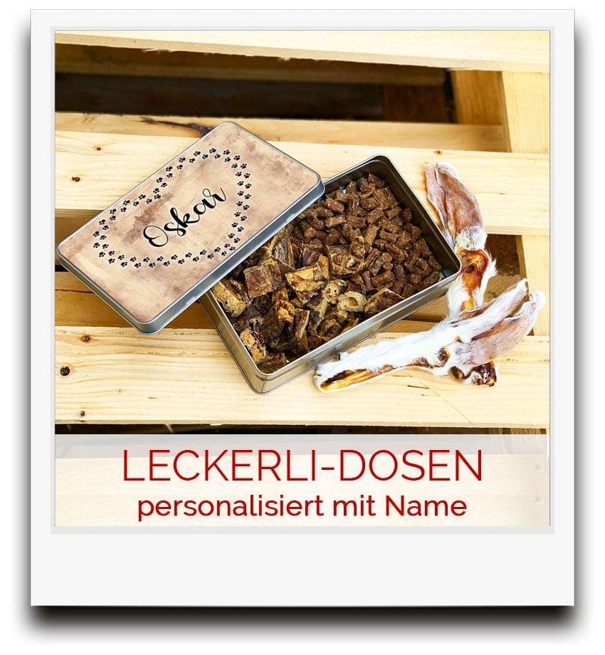 Leckerli-Dosen mit Name deines Hundes
