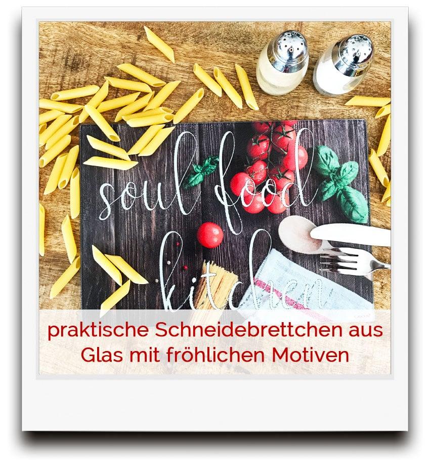 praktische Schneidebrettchen aus Glas mit fröhlichen Motiven