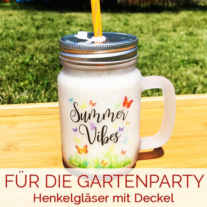 Henkelgläser mit Deckel & Trinkhalm - DAS Accessoire für deine Gartenparty