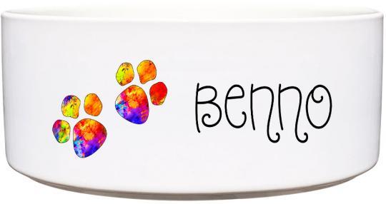 Keramik Futternapf BUNTE PFOTEN ❤︎ personalisiert ❤︎