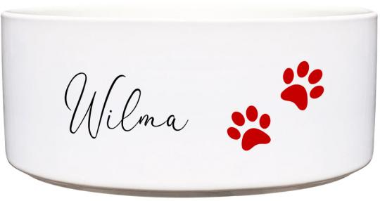 Keramik Futternapf ROTE PFOTEN ❤︎ personalisiert ❤︎ - 1.300 ml