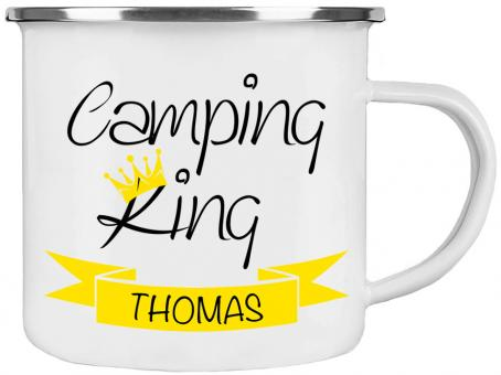 Emaille-Tasse CAMPING KING ❤︎ personalisiert ❤︎