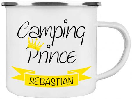 Emaille-Tasse CAMPING PRINCE ❤︎ personalisiert ❤︎