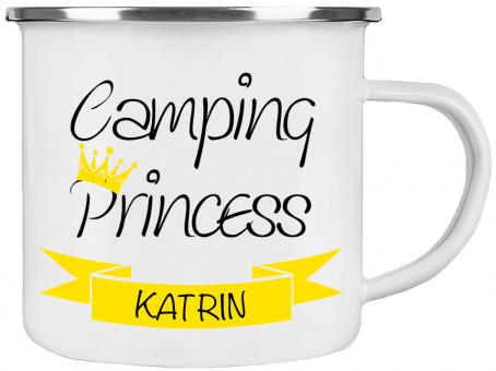 Emaille-Tasse CAMPING PRINCESS ❤︎ personalisiert ❤︎