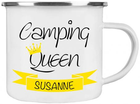 Emaille-Tasse CAMPING QUEEN ❤︎ personalisiert ❤︎