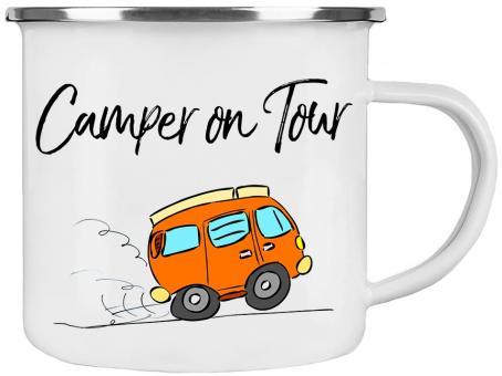 Emaille-Tasse CAMPER ON TOUR