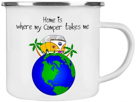 Emaille-Tasse MY CAMPER TAKES ME