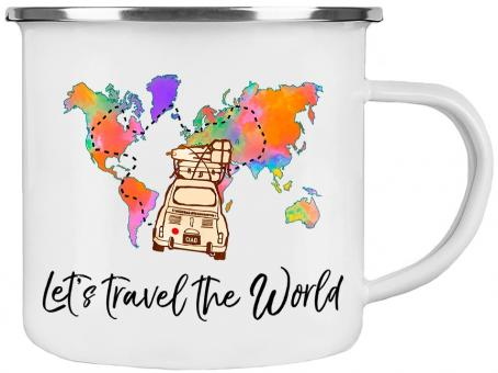 Emaille Tasse LET'S TRAVEL THE WORLD