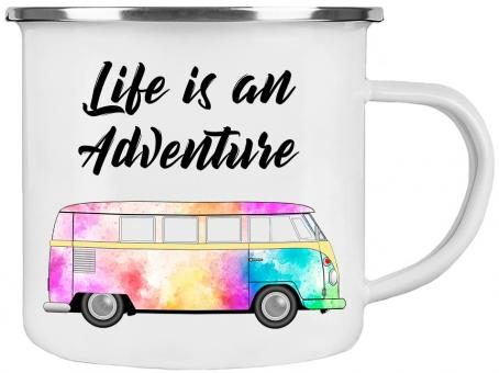 Emaille-Tasse LIFE IS AN ADVENTURE