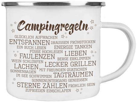 Emaille-Tasse CAMPINGREGELN