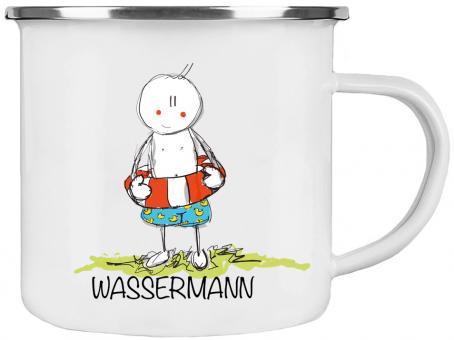 Emaille-Tasse STERNZEICHEN WASSERMANN