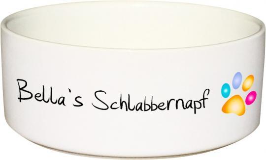 Keramik Futternapf SCHLABBERNAPF mit Wunschname - 650 ml
