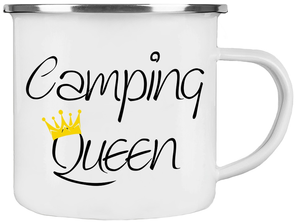 emaille tasse camping queen im cadouri handmade shop kaufen. Black Bedroom Furniture Sets. Home Design Ideas