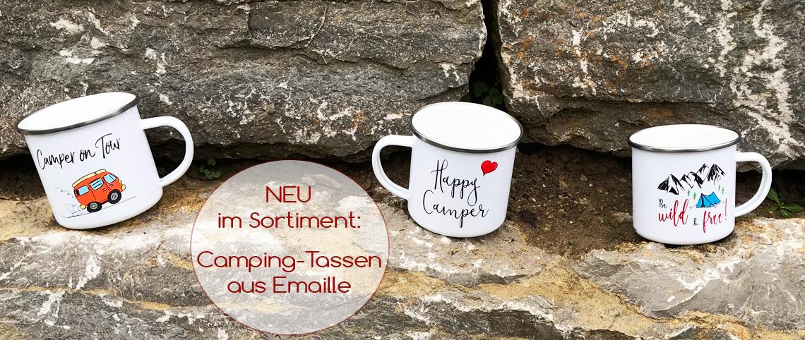 Camping-Tassen aus Emaille mit lustigen Sprüchen & Motiven