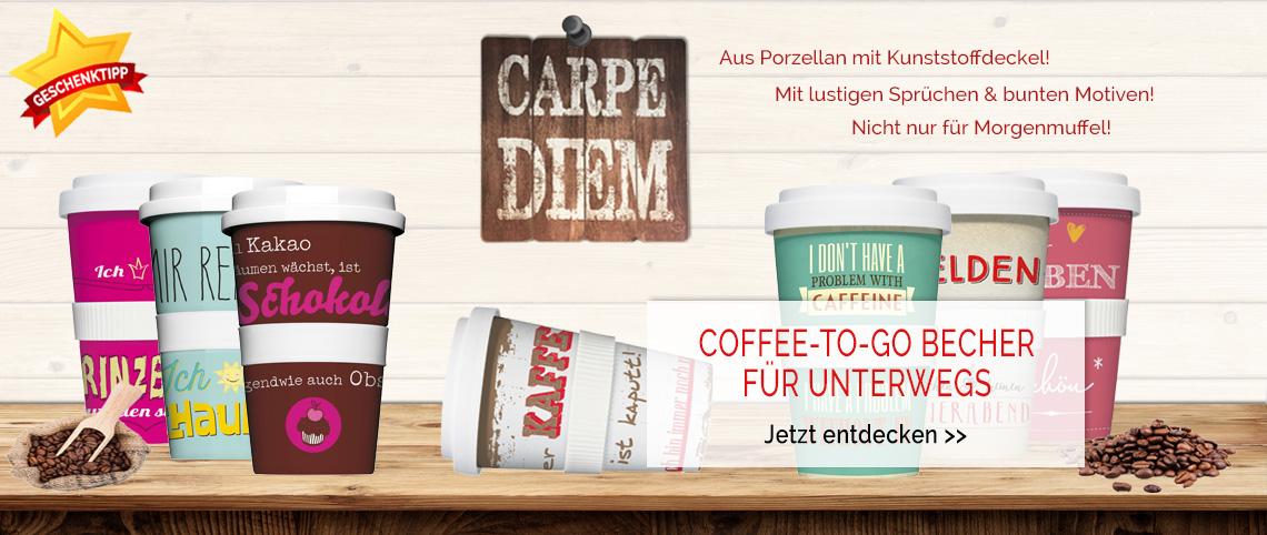 Coffee-to-go Kaffeebecher mit lustigen Sprüchen & bunten Motiven
